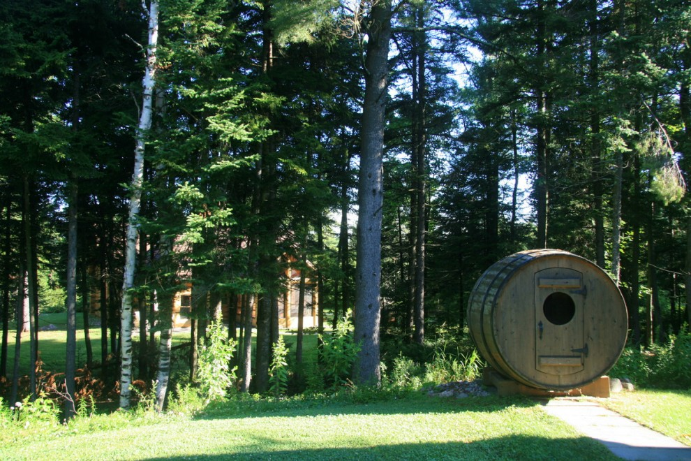 I love me some barrel sauna time! In the distance, you can see another cottage. Lots of privacy.