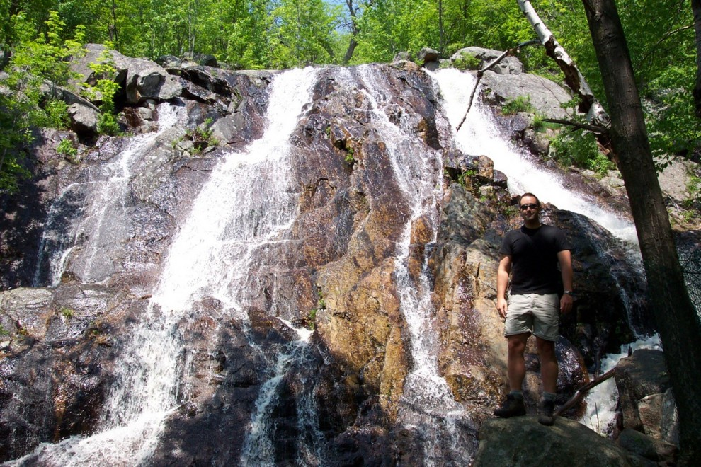 Me, standing at the base of the falls during the spring runoff