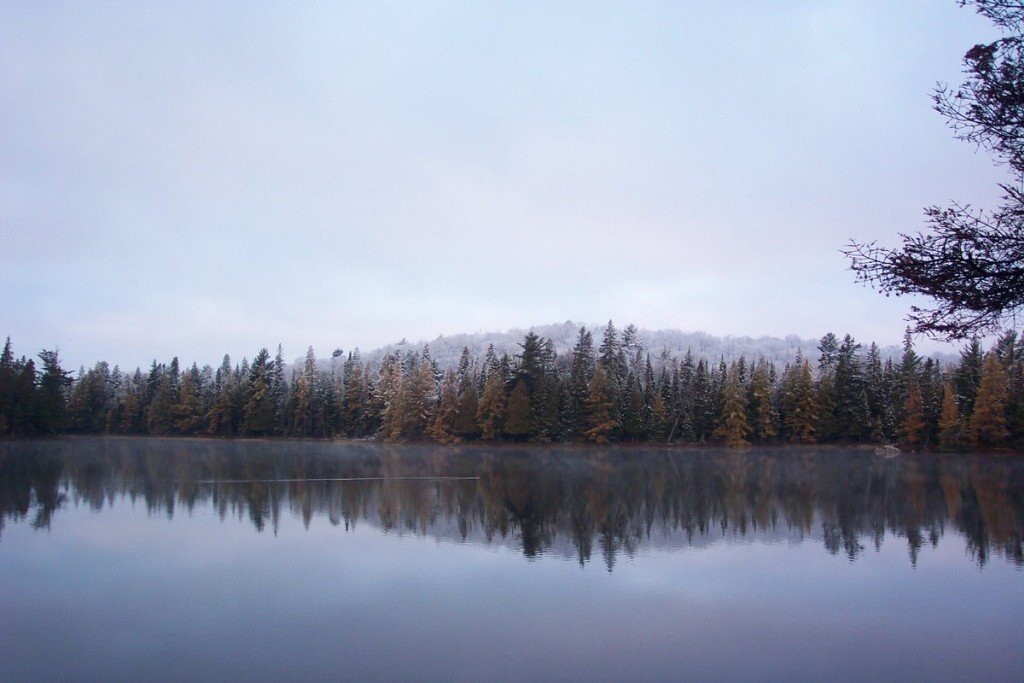 A calm morning on Western Uplands Trail in Algonquin Park