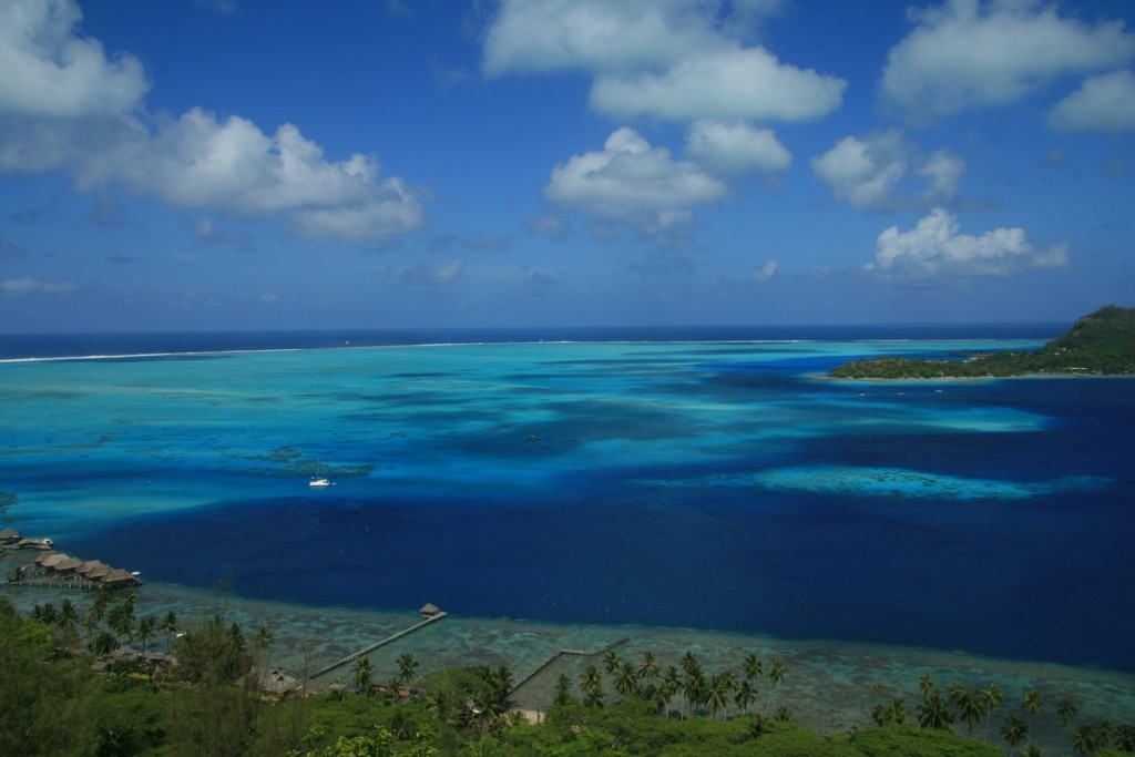 The sweet blues of the Pacific Ocean around Tahiti