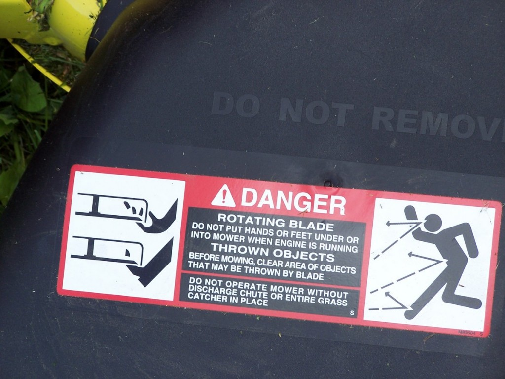 Very descriptive outcomes of riding mower misuse