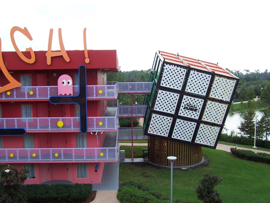 Disney hotel and their view of the 80s. Enjoyed the the Rubic's Cube stairs