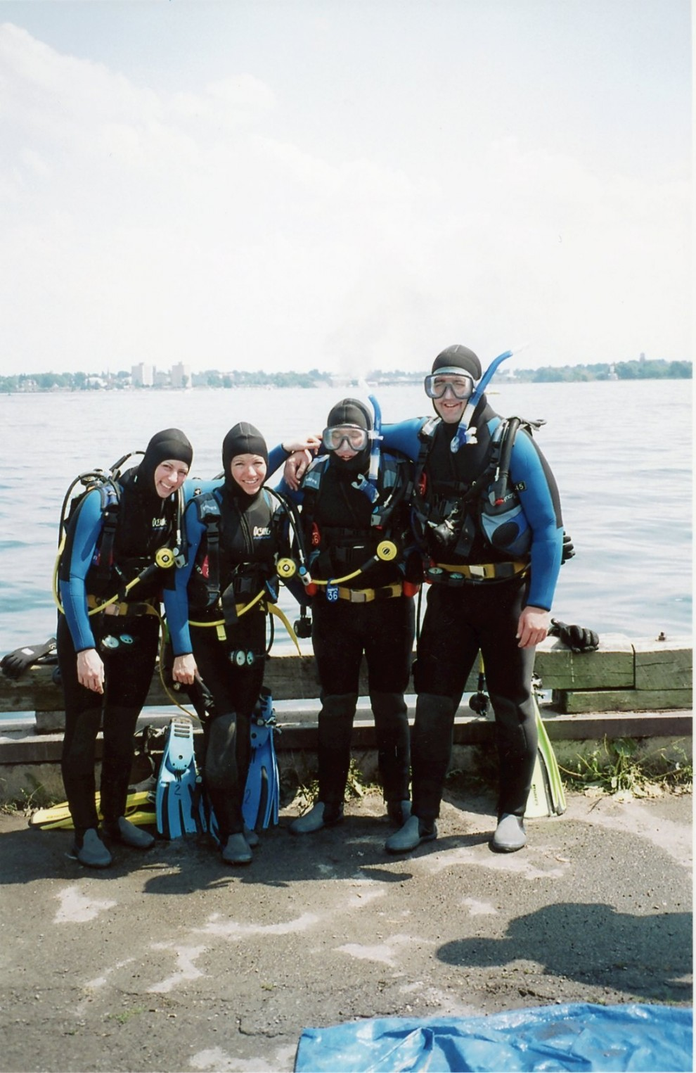 Getting ready to scuba dive at the Prescott docks on the Saint Lawrence River