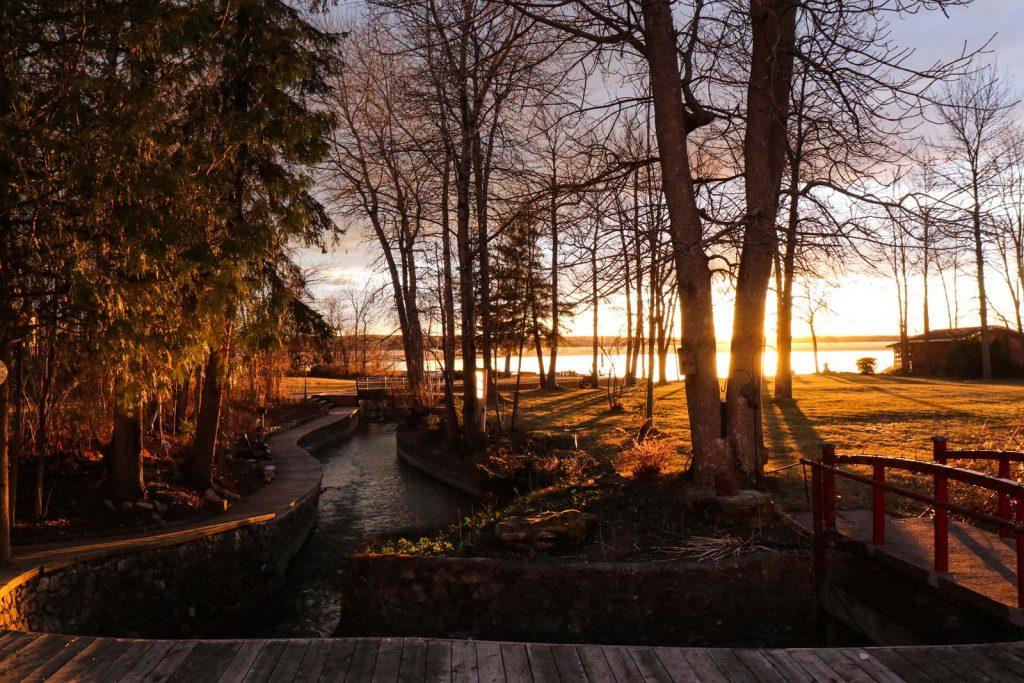 A fall sunset at Dawson Point