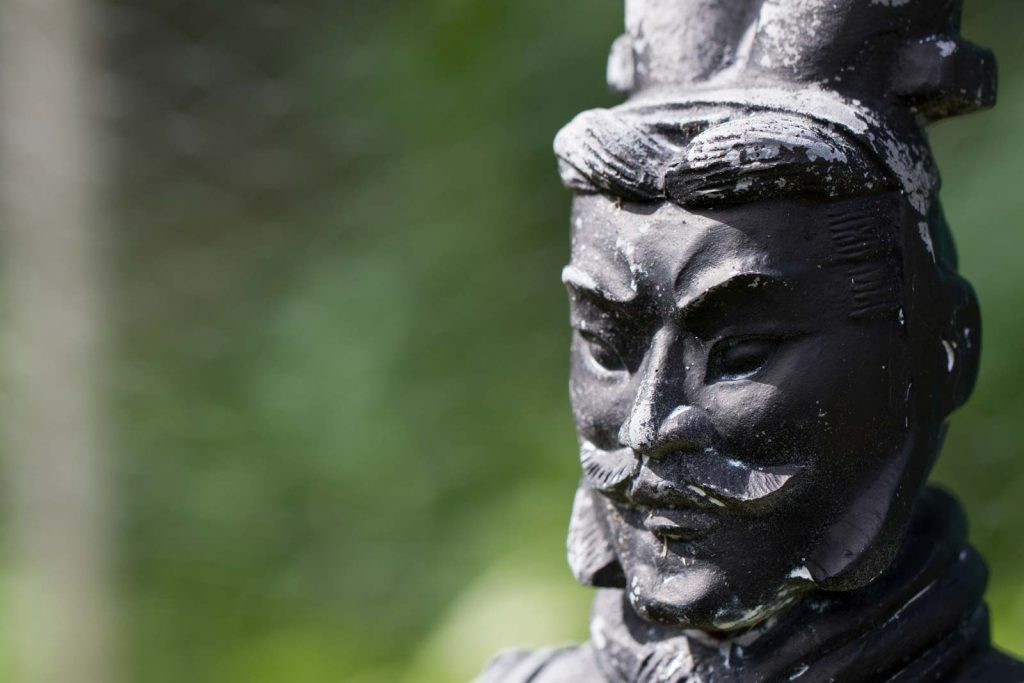 A closeup view of a mini Terracota warrior
