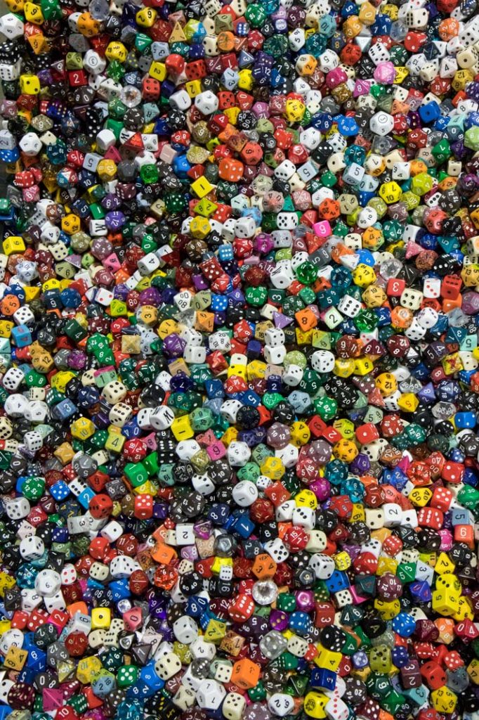 A dazzling display of dice at Geek Market 2015
