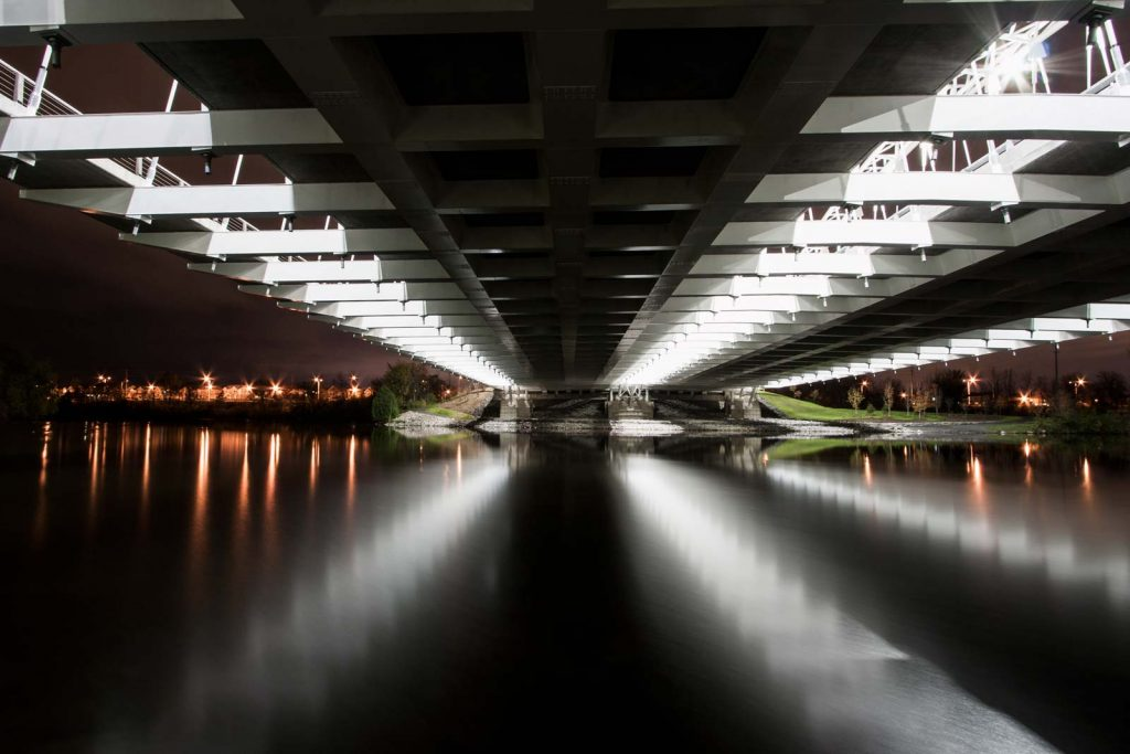 A night time view from under Vimy Bridge in Ottawa