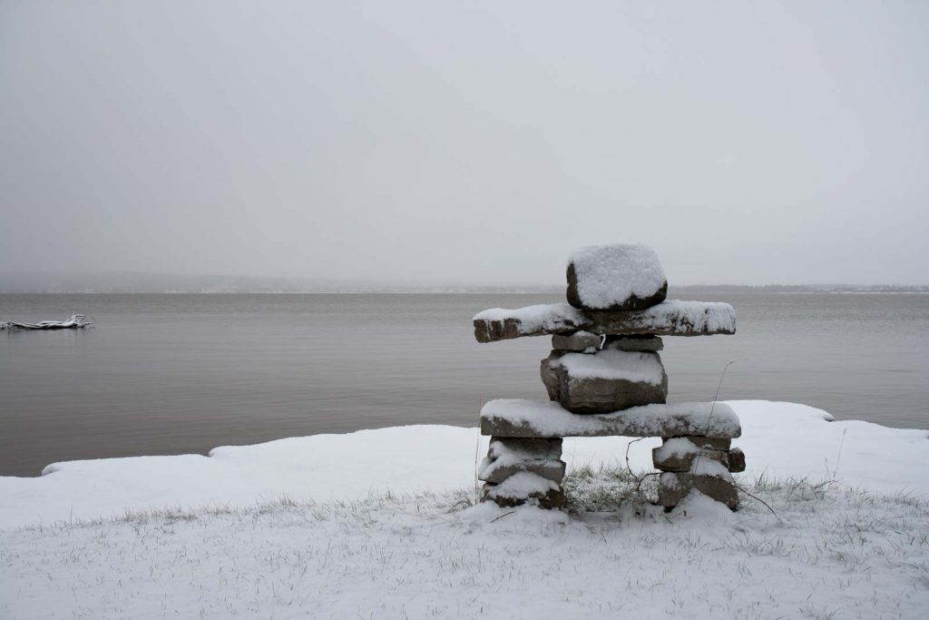 The inukshuk gets it's first dusting of the year