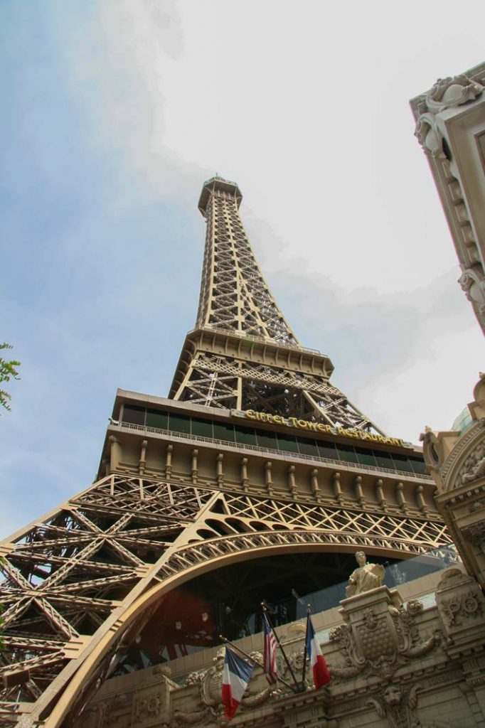 Looking up at the Vegas Eiffel Tower